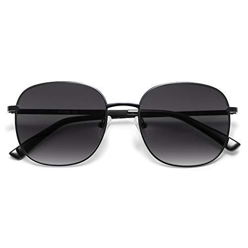 SOJOS Classic Square Sunglasses for Women Men with Spring Hinge AURORA SJ1137 with Black/Gradient Grey