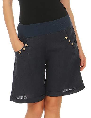 Malito Mujer Pantalones de Lino Pantalones Cortos Bermuda Uni Colors 8024 (Azul Oscuro, S)