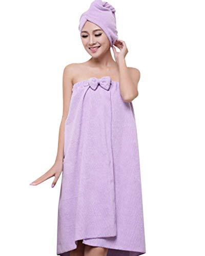 Vdual Femme Serviette de Bain Peignoir de Douche Serviette à Cheveux en Coton Séchage Rapide pour Prendre Le Bain et Sauna avec Bandeau Cheveux à Nœud Papillon