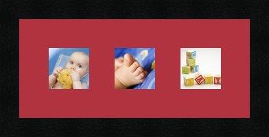 Cadres Photos pêle mêle multivues Rouge 3 Photo(s) 8x8 Passe Partout, Cadre Photo Mural 35x15 cm Noir, 3 cm de Largeur