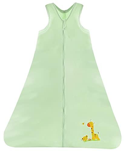 Chilsuessy Sommerschlafsack Baby Schlafsack Kleine Kinder Schlafanzug ohne Ärmel für Sommer und Frühling 100% Baumwolle, Gruen, 110/Baby Höhe 110-125cm