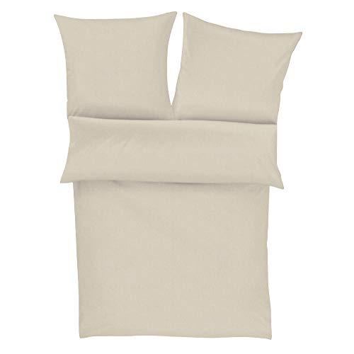 Zeitgeist Flanell Bettwäsche 135x200 cm - einfarbige Biberbettwäsche beige, 100% Baumwolle kuschelig weich und angenehm warm, Set aus Bettbezug 135x200 und Kissen 80x80cm, praktischer Reißverschluss
