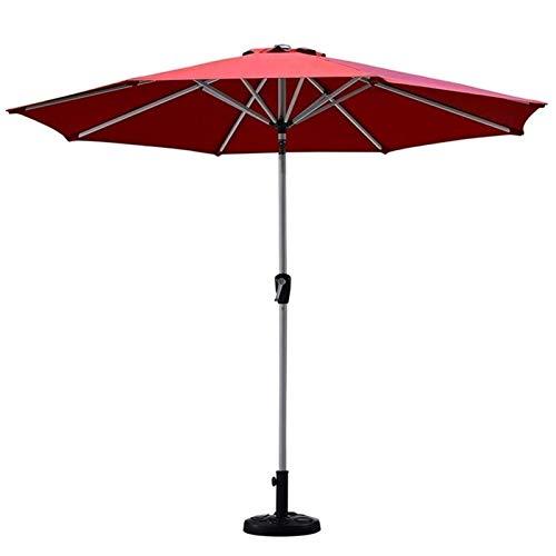 REWD Sombrilla Parasol Jardin Red Garden Parasol con manivela de elevación e inclinación, al Aire Libre Parasol Paraguas for la Playa/Piscina/Patio/café, 2,7 m (9 pies) sin Base a Prueba de Viento