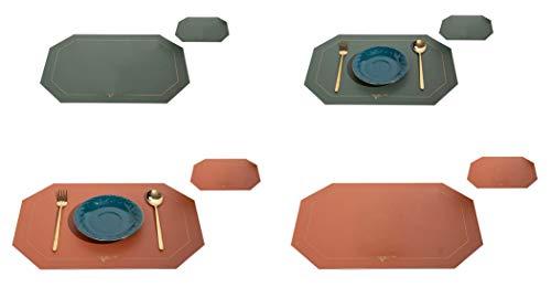 EACHPT 4pcs tovagliette e sottobicchieri lavabili tovaglietta da tavola in pelle sottobicchieri antiscivolo resistenti al calore tovaglietta per decorazioni per casa tavolo da pranzo cucina