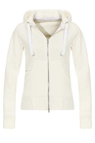 Mivaro Damen Sweatjacke mit Kapuze Zip Hoodie Kapuzenjacke Sweat Jacke Basic Einfarbig, Größe:M, Farbe:Weiß meliert