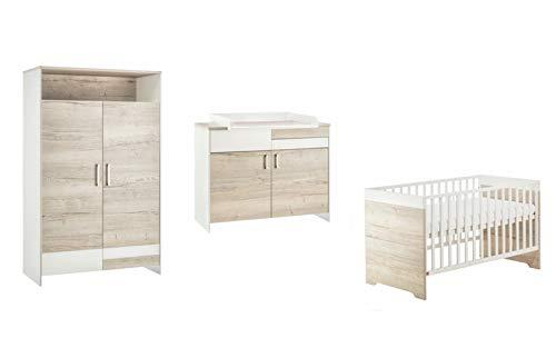 Schardt 11 952 28 00 kinderkamer Clou Oak met combi-kinderbed, commode en 2-deurs kledingkast, beige