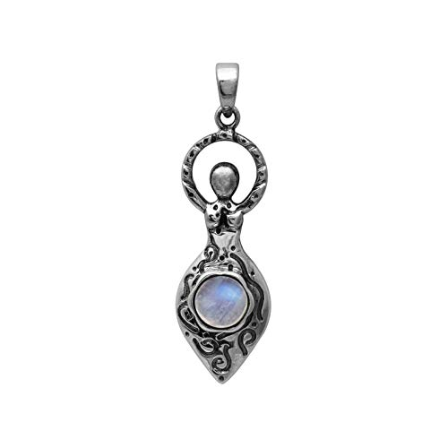 925 Sterling Silver Round Rainbow Moonstone Celtic Goddess Of Fertility Charm Pendant