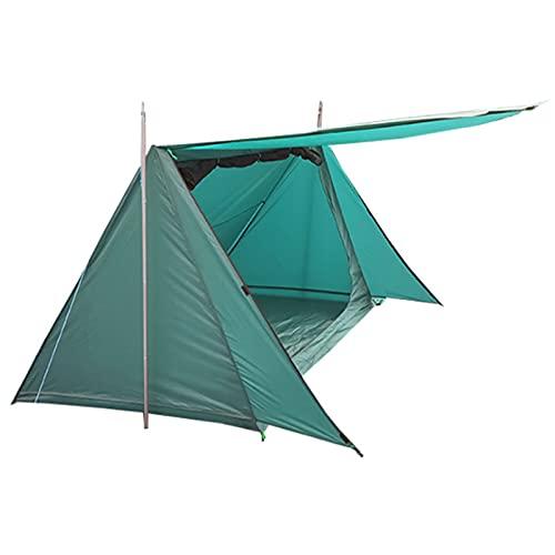 0℃ Outdoor Tienda de Campaña para 2 Personas Bungalow 4 Estaciones Ultraligera, Resistente al Agua y al Viento Fácil de Instalar, Ideal para Camping, Bushcraft, Mochileros,Verde