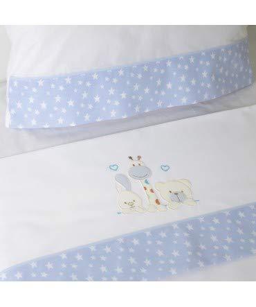 10XDIEZ Juego de sábanas Cuna 068 BCO/Azul - Medidas sabanas bebé - Minicuna (50x80cm)