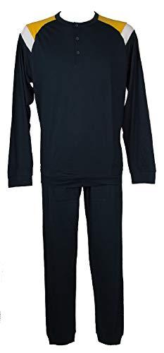 RAGNO Pigiama Uomo Cotone Manica Lunga Pantalone Lungo Collo Serafino Sport Articolo U087N1, 041F Fantasia Senape, Taglia 56