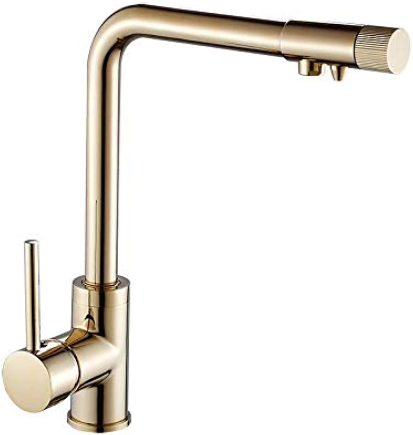Kitchen Sink Taps golden Hot and Cold Kitchen Water Purifier Double Faucet Sink redates Out of The Water