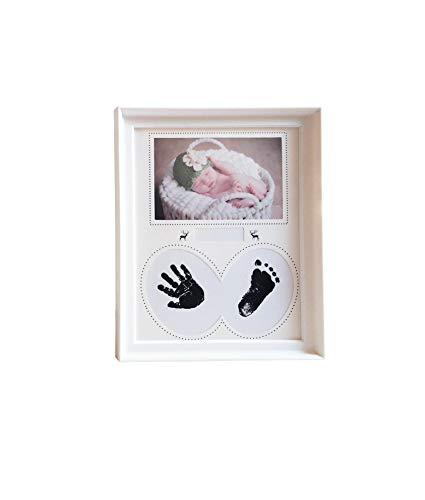 GUTEINTE Kit de Fotos con Huellas para niños recién Nacidos, Huellas de Manos o de los pies, Marco de Fotos de Pared y de Mesa, bebé