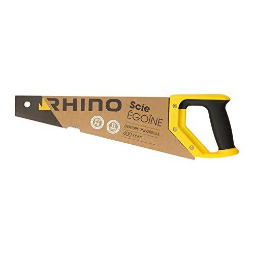 Rhino 43902 Scie égoïne 400mm 400mm-Scie égoîne à Main pour Coupe Bois-Revêtement PTFE Anti-Friction-Denture Universelle trempée 11 Dents/Pouce-Longueur, NC, 400 mm