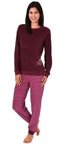 RELAX by Normann Damen Frottee Pyjama mit Bündchen, Hose gestreift, Top mit Sterne + Mond Stickerei, Farbe:Beere, Größe2:44/46