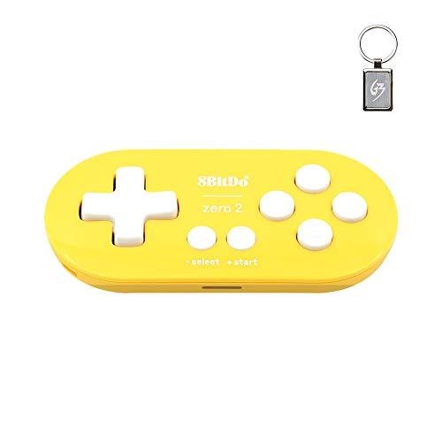 8bitdo Zero 2 - Bluetooth Gamepad - Gelb Edition - Drahtloser Controller für N-Switch/Windows/Android/MacOS/Raspberry Pi - mit Schlüsselanhänger