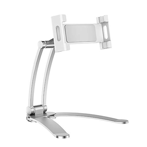 Monifuon Desktop & Wall Pull-Up Lazy Bracket Cell Phone Mount Wall Tablet Holder Stand(S silver)