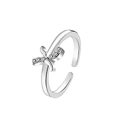 Janly Clearance Sale Anillos para mujer, anillo de letras 26 letras inglesas, diseño de combinación de diamantes, regalo de pareja, conjuntos de joyería, día de San Valentín (K)