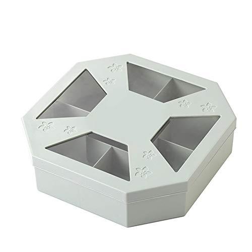 XIXIAO Gran capacidad de rejilla dividida creativa bocadillos de frutas dulces caja de frutas secas bandeja de centro de mesa decorativa