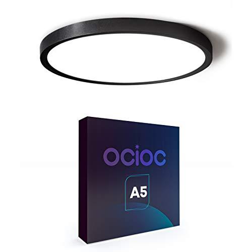Ocioc 15.7inch LED Flush Mount Ceiling Light Black,36W,5000K,Ultra Thin Round Lighting Fixture for Bedroom, Office, Hallway, Kitchen ETL Listed