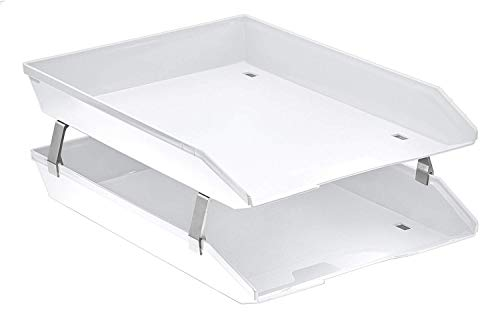 Acrimet Facility 2 Tier Letter Tray Front Load Plastic Desktop File Organizer (White Color)