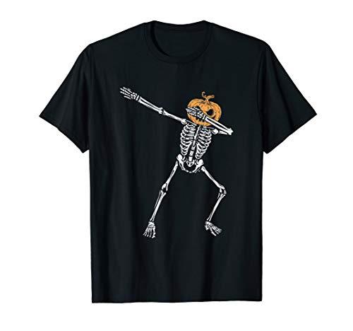 Abtupfen Skeleton Jack O Lantern Kopf Halloween T-Shirt