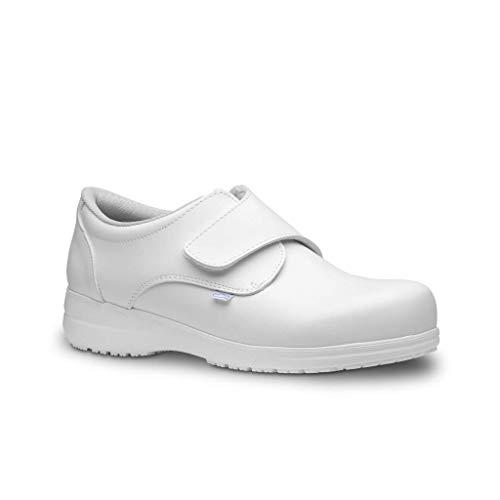 Feliz Caminar - Zapatos antiestáticos Neón con Inserto en el talón y Plantilla antiestáticas Que evitan chispazos/Antideslizante para Hospital, Geriátricos/Anatómicos(Blanco-37)