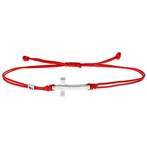 Wind Passion Bracciale Rosso Corda con Ciondolo Croce, Braccialetto Kabbalah Stringa Nautica Regolabili per Uomo Donna Bambini