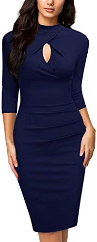 Miusol Women s Business 2 3 Sleeve Work Style Pencil Dress X Large Navy Blue product image
