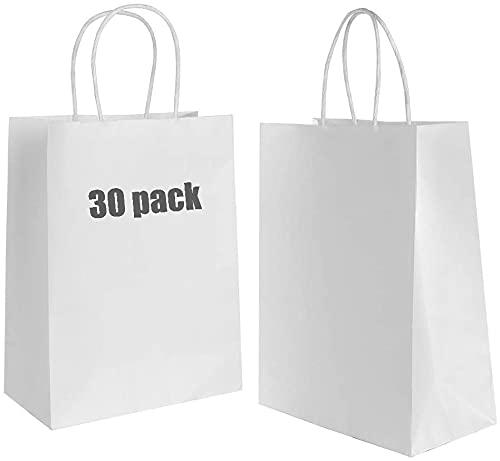 Gaoyong 30PCS Bolsas de Papel con Asas,Bolsas de Papel,Bolsas Kraft,Bolsas Papel Regalo para la Tienda de Comestibles para Hornear Compras Minoristas Boutique (Espesar 130 g / m2)