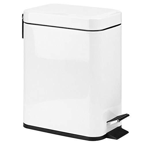 Fdit 5L Huishoudelijke Badkamer Keuken Roestvrij Staal Mute Pedaal Rubbish Vuilnisbak Prullenbak Wit