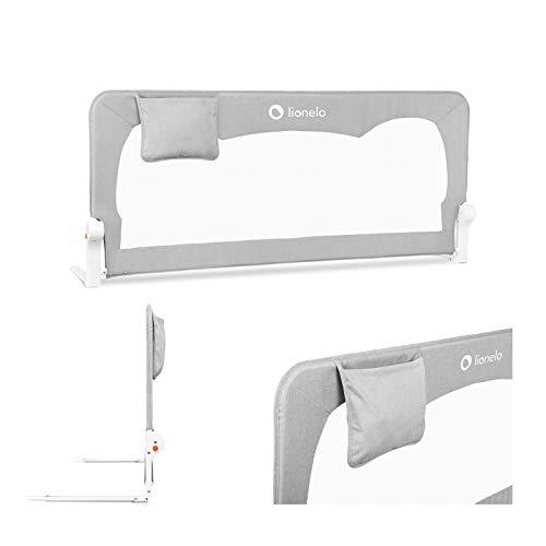 Lionelo Hanna Barrera de seguridad - Protección contra caídas 150 x 35 x 66 cm Cinturones SecureBelt Se adapta a la mayoría de los colchones Malla aireada Fácil montaje Gris