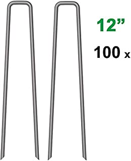MySit 100x 12 Inch Garden Stakes Garden Staples 11Ga Tent Stakes, Heavy Duty Galvanized Steel Landscape Stakes Lawn Staples Rust Resistant Fence Anchors …