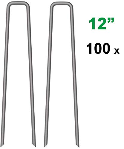 MySit 100x 12 Inch Garden Stakes Garden Staples 11Ga Tent Stakes, Heavy Duty Galvanized Steel Landscape Stakes Lawn Staples Rust Resistant Fence Anchors