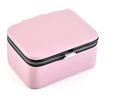HYMD Joyero Mini Caja de joyería portátil Pendientes Pendientes Joyería Almacenamiento Organizador Mujeres Pantalla de Cuero Caja de Viaje Joyería Caja de Regalo (Color : Pink)