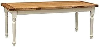 Biscottini Table Extensible en Bois Massif de Tilleul - Style Country - Structure Blanche Antique - Plateau Naturel L 200 ...