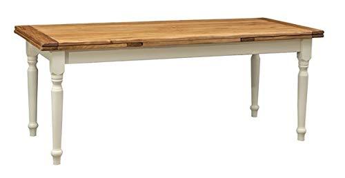 Biscottini Table Extensible en Bois Massif de Tilleul – Style Country – Style Shabby – Structure Blanche vieillie Plan Naturel L 200 x P 90 x H 80 cm