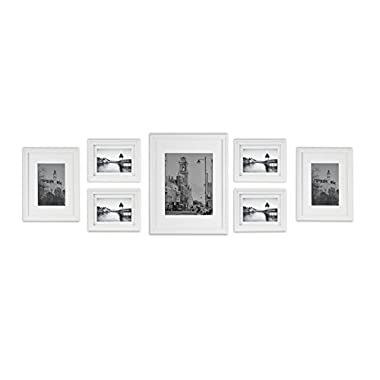 Golden State Art Wall Frames Collection, White Wood Frame Set for Pictures/Photos, 7 Frames