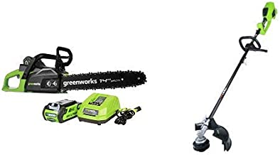 Greenworks 14-Inch 40V Cordless Chainsaw, 2.0 AH Battery Included CS40L210 with 14-Inch 40V Cordless String Trimmer (Attachment Capable), Battery Not Included 2100202