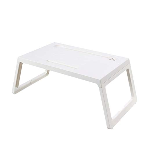 LICHUAN Escritorio de computadora pequeño plegable para computadora portátil, mesa de estudio, escritorio de plástico para cama, sofá, desayuno, cama, mesa, escritorio de oficina (color blanco)