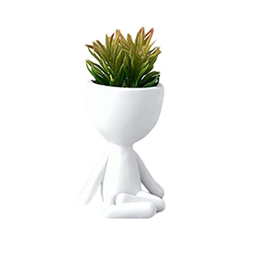 coil-c Maceta de resina para plantas suculentas, maceta para plantas sentadas, maceta para plantas de forma humana, maceta para cactus, decoración creativa para el hogar y el escritorio (blanco)