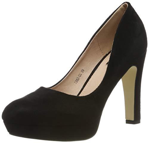 Elara Damen Pumps High Heels Vintage Abendschuh Chunkyrayan 7262-GL Black-36