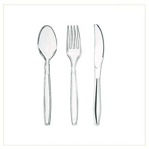 Virsus Set Posate Kristal Trasparente Posate rigide 300 Posate 100 coltelli Trasparenti 100 cucchiai Trasparenti 100 forchette Trasparenti