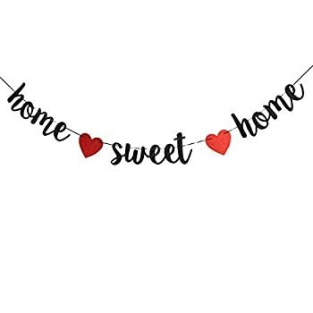Home Sweet Home Banner,Funny Glitter Welcome Home Party Sign Decors Family Party Supplies,Housewarming Military Family Party Decorations  Black