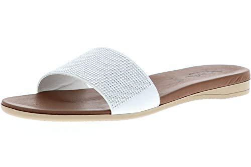 Vista Damen Pantoletten Slipper weiß/braun, Größe:38, Farbe:Weiß