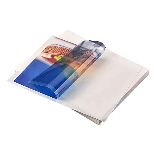 SUVIA Bedruckbar 50 Stück A4 Inkjet Selbstklebende Hochglanzweißer PP Folie für Laser und Tintenstrahldrucker Drucker (Transparente PET-Folie)