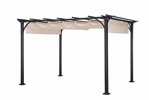Sunjoy Large Naples Pergola, 10' by 8', Beige