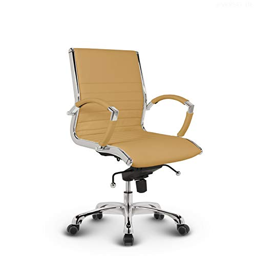 VERSEE Design Bürostuhl Montreal - Echt-Leder - Ocker - Konferenzstuhl, Meetingstuhl, Drehstuhl, Bürodrehstuhl, Schreibtischstuhl, Designklassiker, hochwertige Verarbeitung, 150 kg belastbarkeit
