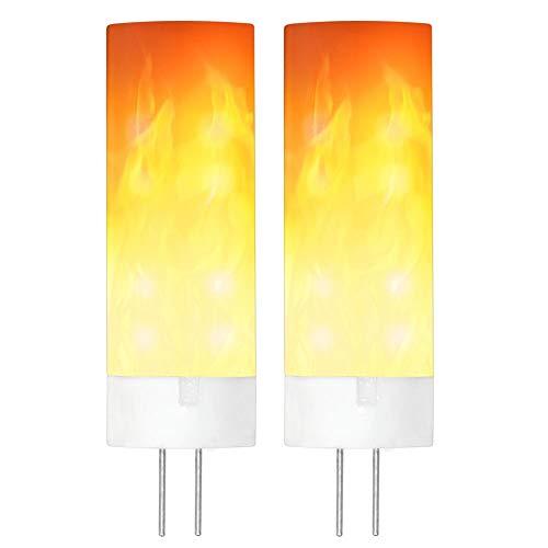 GRANVOO 2-er Pack G4 0.5W LED Flammen Lampe PC + Keramik Flammenfarbe 10lm 36X2835 SMD AC/DC 12V