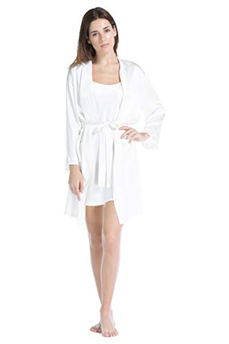 Fishers Finery Women's 100% Pure Mulberry Silk Robe (White, S)