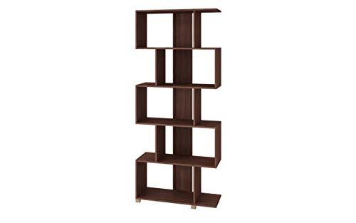 Buyqualia Estantería libreria Decorativa Multiusos con Cinco Niveles para organización con Forma de zig-Zag. (Castaño)